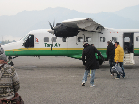 early morning fly back to pokhara-17min (approx)