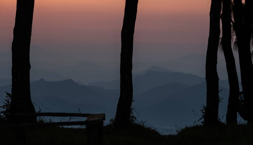evening view of hills and mountains