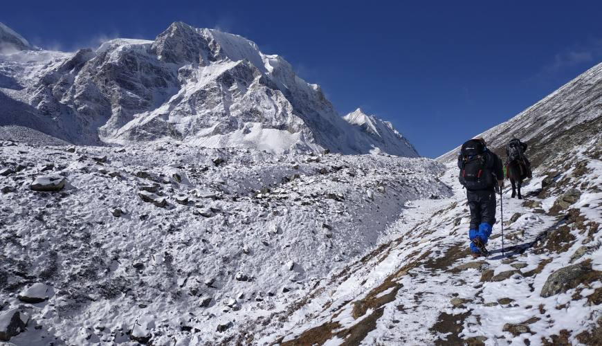 trekkers on the adventure to the Himalayas